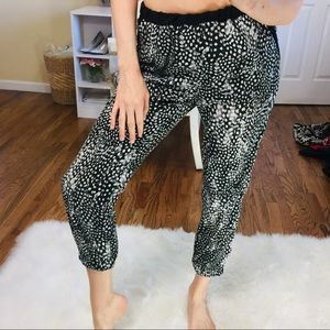 TOPSHOP Black White Spotted Print Trousers | 10